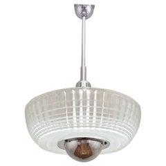 1950s Large French Holophane Pendant Lamp
