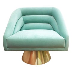 Hollywood Style Mint Velvet and Polished Brass Base Accent Swift Chair