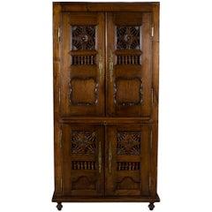 Carved Oak English Four Door Wardrobe Cupboard Cabinet