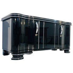 Black High Gloss Art Deco Sideboard or Lowboard with Chrome Details