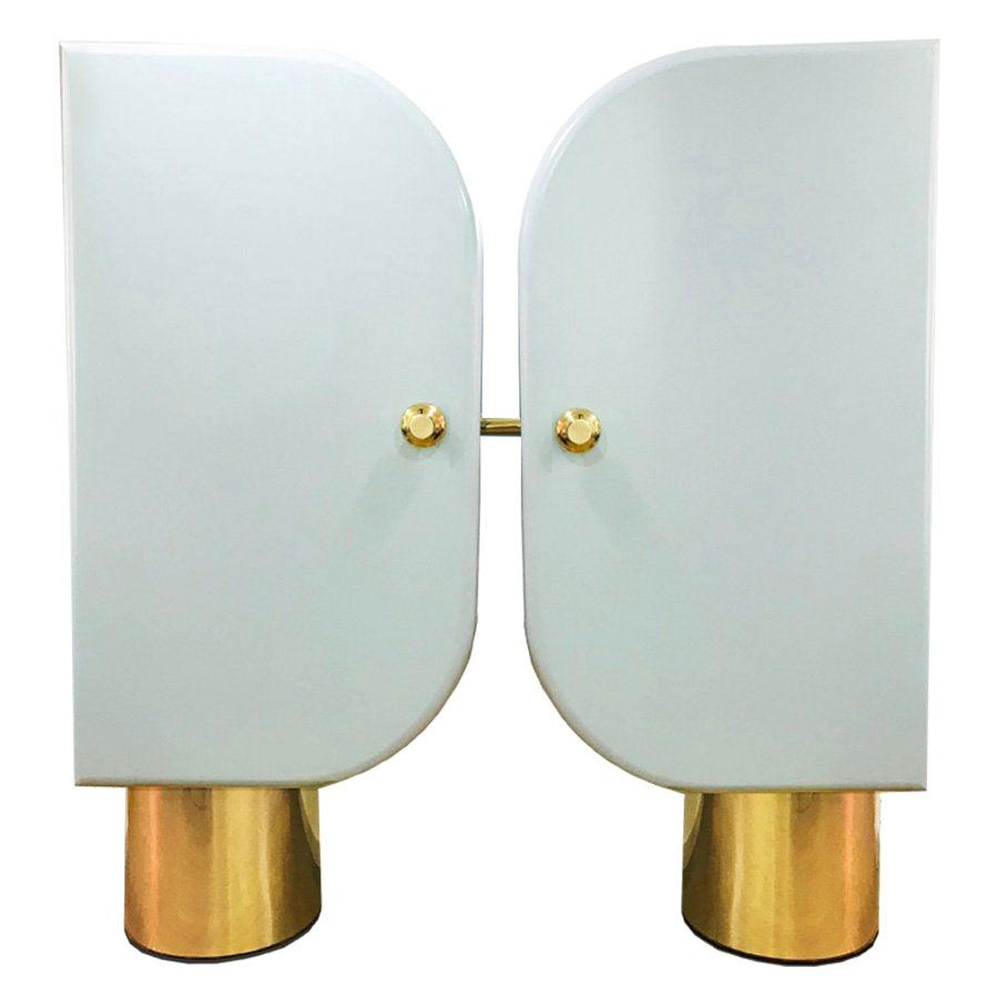 Hollywood Style Blue Lacquered Wood and Polished Brass Base Cabinet Soho