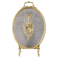 French, Louis XVI Style Brass Fire Screen