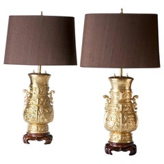 Pair of Gilded Bronze Lamps, on Wooden Bases, Shades in Brown Silk, 1970s