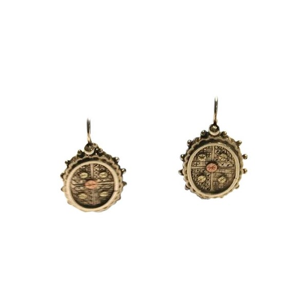 Pair of Victorian Silver Earrings with Applied Two Color Gold-Work, circa 1880