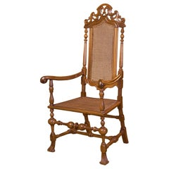 Spanish Carved Walnut Armchair, Late 17th Century