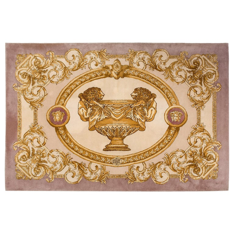 Large Original 1980s Wool Carpet Made by Versace Atelier, Italy For Sale