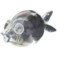 Steuben Figurative Crystal Sculpture Puffer Fish Paperweight by Thompson, Signed