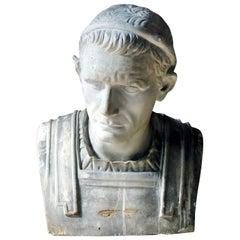 19th Century Painted Plaster Portrait Bust of Julius Caesar, circa 1880