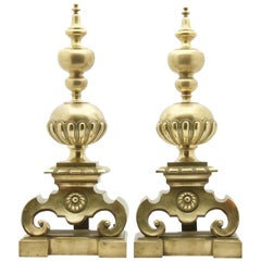 Large Pair of 19th Century English Andirons in Heavy Cast Brass