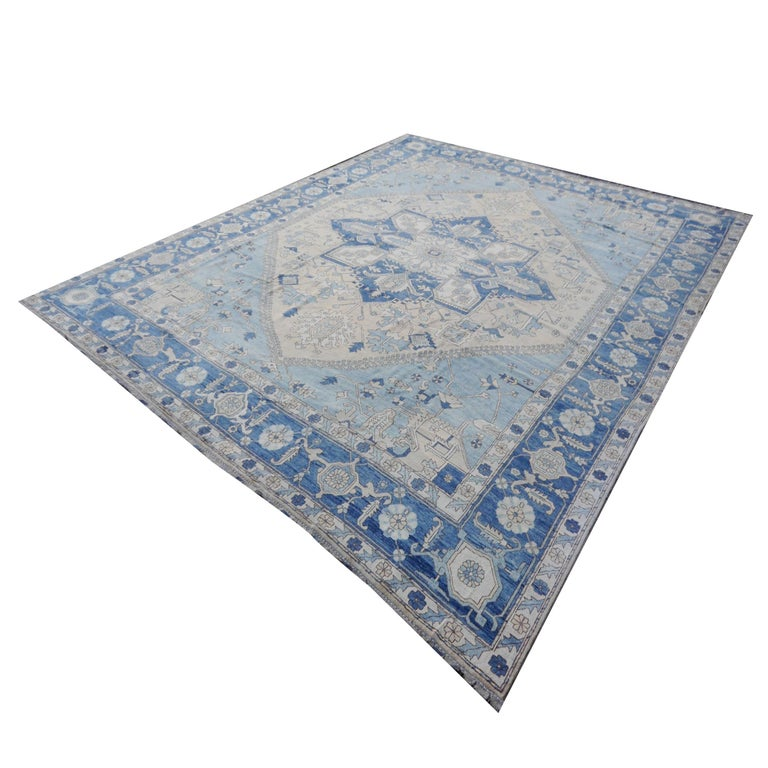 Large Heriz Style Rug Oversized Hand Knotted Blue Beige For Sale