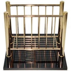 1950s Vintage Magazine Rack, Polished Brass and Macassar Wood