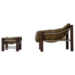 Captain Lounge Chair with Ottoman by Jean Gillon Brazilian Leather Armchair
