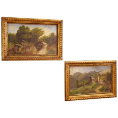 20th Century Oil on Cardboard Pair of Italian Signed Landscapes Paintings, 1960