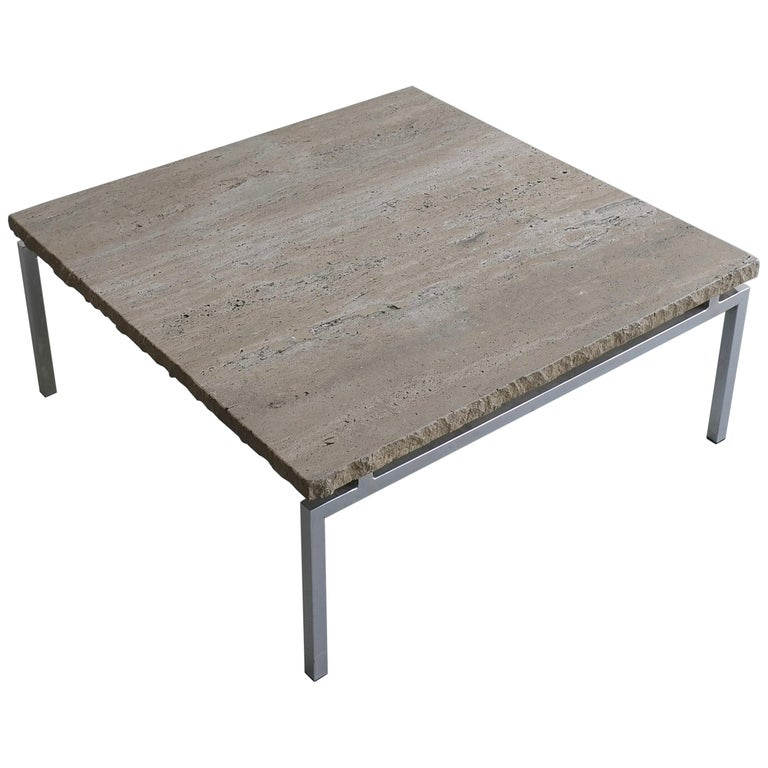 Off-White Travertine Square Coffee Table On A Chrome Base