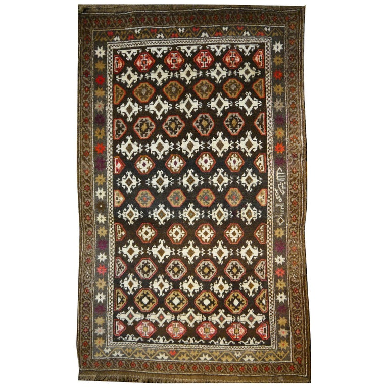 Karabagh Rug Hand Knotted in Azerbeijan, Midcentury For Sale