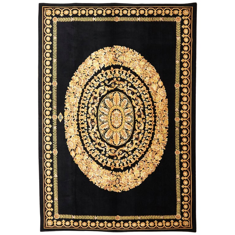 Versace Collection Rug Petit Barocco Nero Black Gold, 1980 For Sale