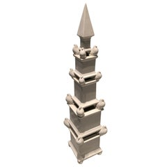 Large White Ceramic Obelisk with Doves from Gumps