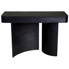 Crescent Console in Contemporary Blackened Steel with Black Marble Top