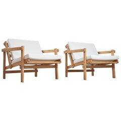 Modernist Lounge Chairs 'Cleon' in Beech and White Linnen by Martin Visser 1970s