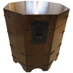 Handsome Dark Wood Octagonal Chest End Table
