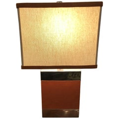 Chic Ralph Lauren Small Table Lamp Clad in Leather and Chrome