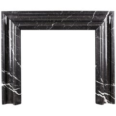Elegant Regency Baroque Bolection Fireplace Surround in Italian Nero Marquina