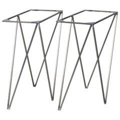 Modern Minimal Lacquered Steel Heavy Duty Zigzag Trestle Table Legs