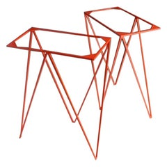 Modern Minimal Orange Steel Heavy Duty Zigzag Trestle Legs