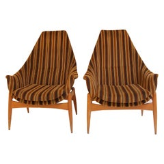 Pair of Armchairs by Julia Gaubeck, Original Upholstery, Hungary, circa 1970