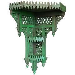 Moroccan Green Wooden Corner Shelf