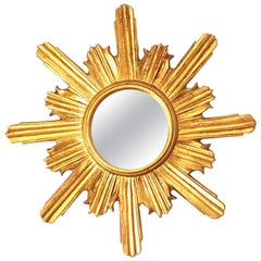 Stunning Sunburst Starburst Mirror Wood Stucco, French France, circa 1960s
