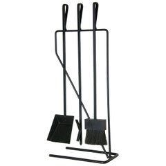 Modernist Wrought Iron Fireplace Fire Tools Set on Cantilevered Stand