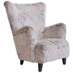 Faux Fur Upholstered Armchair, circa 1950