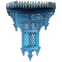 Moroccan Blue Wooden Corner Shelf