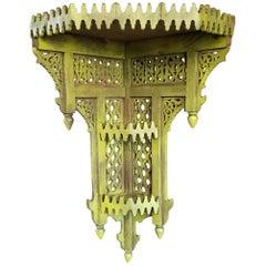 Moroccan Yellow Wooden Corner Shelf