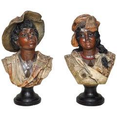 Set of Rare Plaster Busts, circa 1900