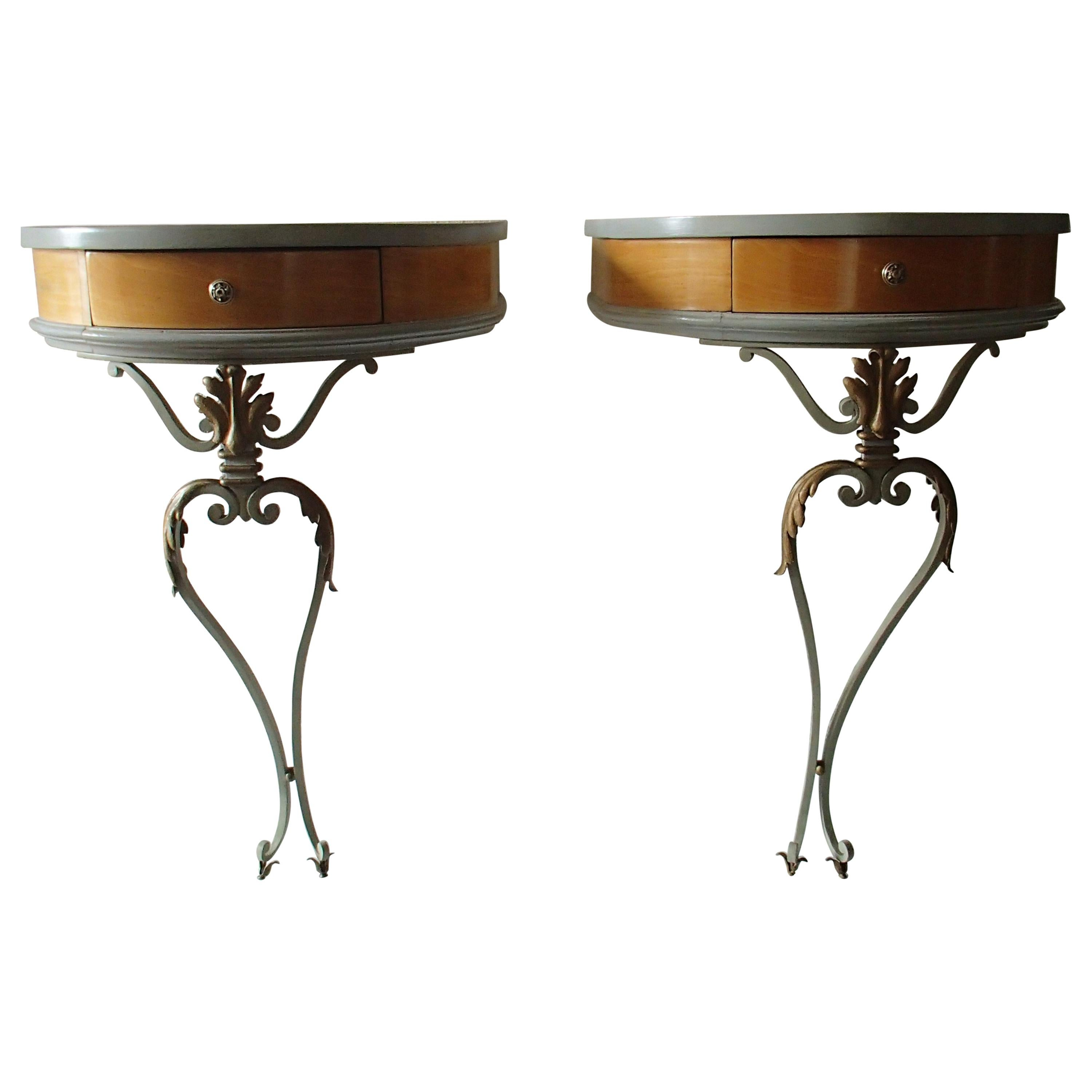 Pair of Art Deco Nightstands or Side Tables Sycomore and Wrought Iron