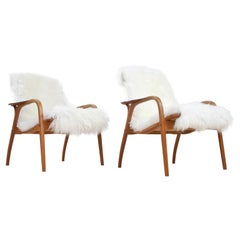 Scandinavian Modern Set Lounge Chairs by Yngve Ekström in Oak & Sheepskin, 1951