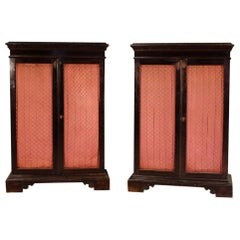 20th Century Ebonized Wood Pair of Italian Renaissance Style Bookcases, 1950