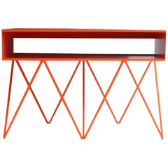 Robot Too Orange Steel Record Player Stand / Sideboard