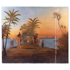 19th Century French Orientalist Oasis with Camels Oil on Canvas Painting