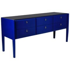 Stunning Midcentury Credenza in Cobalt Blue Lacquer