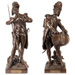 H. Dumaige Pair of 19th Century French Bronze Soldiers