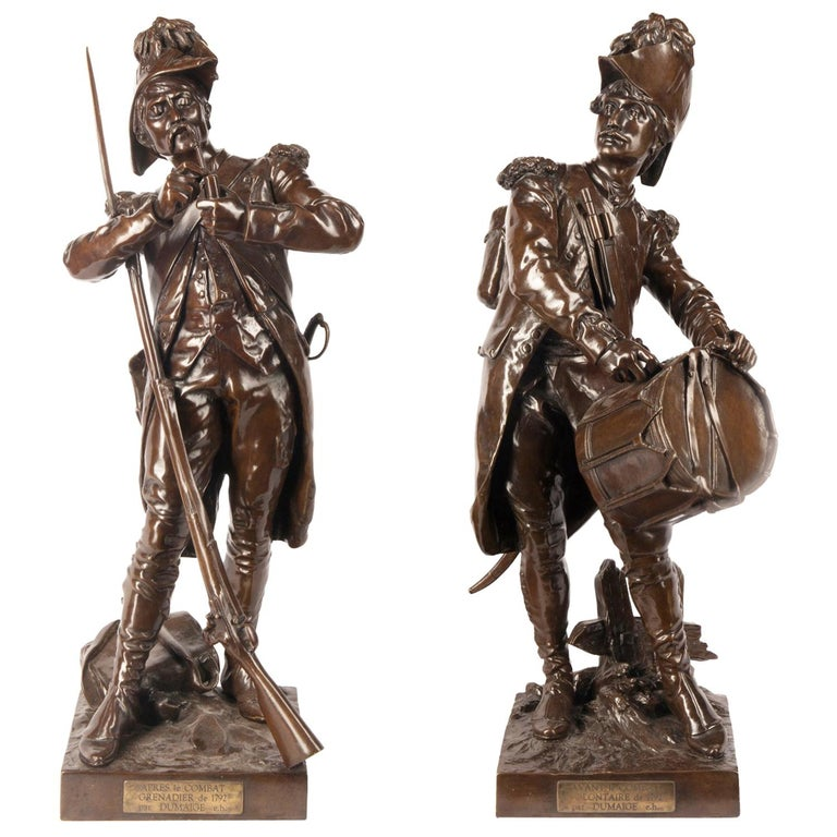 H. Dumaige Pair of 19th Century French Bronze Soldiers For Sale