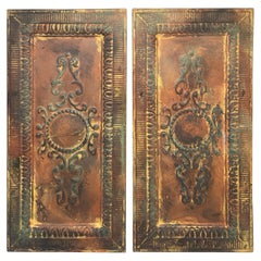 Early 20th Century Architectural Reclaimed Raised-Tin Tole Wall Plaques, Pair