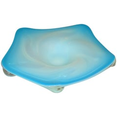 Murano Glass Hand Blown Blue, White and Clear Bowl / Catchall, Italy