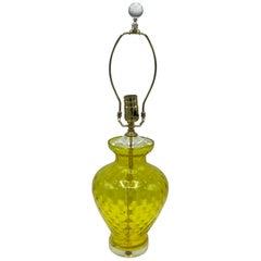 1960s Italian Yellow Optic Art Glass Lamp