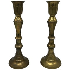 1950s Large Brass Candlesticks, Pair