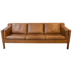 Børge Mogensen Three-Seat Brown Leather Fredericia Sofa Model 2213, Denmark