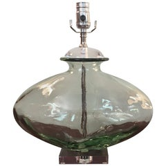 1970s French Pale Green Blown Glass Lamp with Lucite Base